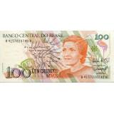 Банкнота 100 новых крузадо, 1989 год, Бразилия.