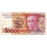 Банкнота 10000 крузейро. Бразилия. (с надпечаткой 10 новых крузейро).