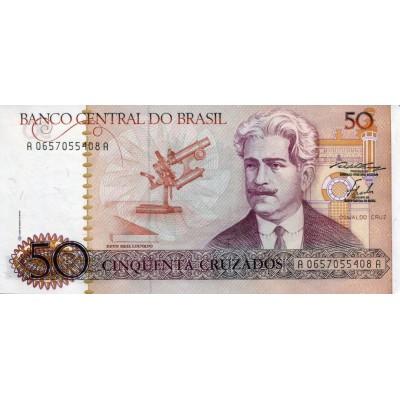 Банкнота 50 крузадо. 1986 год, Бразилия.