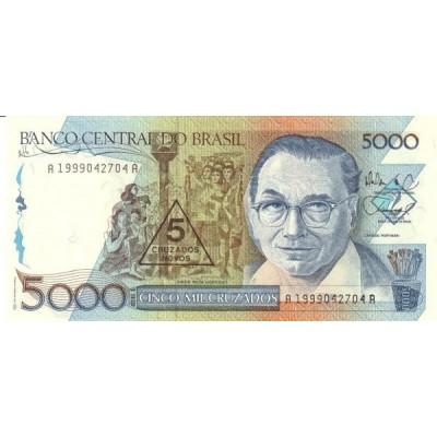 Банкнота 5 новых  крузадо. 1989 год, Бразилия.