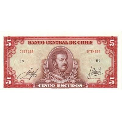 Банкнота 5 эскудо. 1964 год, Чили.