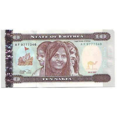 Банкнота 10 накфа. 1997 год, Эритрея.