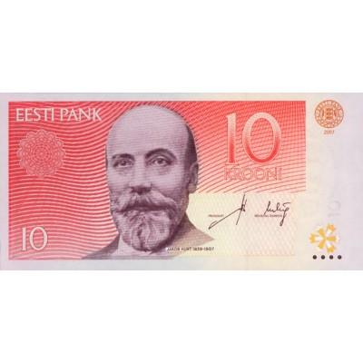 Банкнота 10 крон. 2007 год, Эстония.