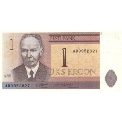 Банкнота 1 крона. 1992 год, Эстония.