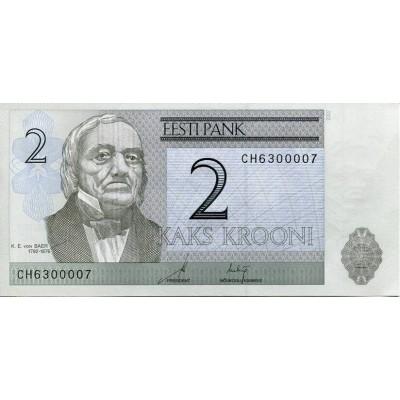 Банкнота 2 кроны. 2007 год, Эстония.