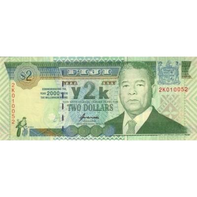 Банкнота 2 доллара,2000 год, Фиджи.