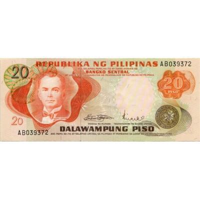 Банкнота 20 песо. 1970 год, Филиппины. (Вар. II)