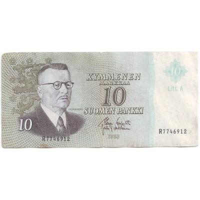 Банкнота 10 марок. 1963 год, Финляндия. Из обращения.