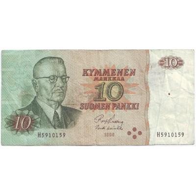 Банкнота 10 марок. 1980 год, Финляндия. Из обращения.