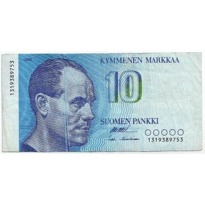 Банкнота 10 марок. 1986 год, Финляндия.