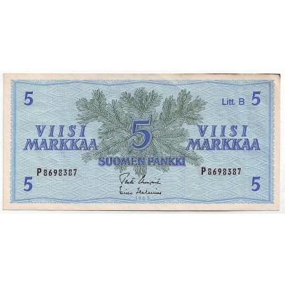Банкнота 5 марок, 1963 год, Финляндия.