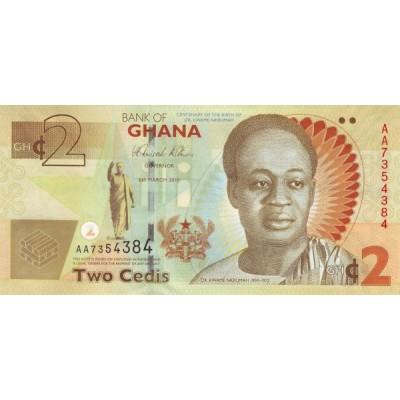 Банкнота 2 седи, 2010 год, Гана.