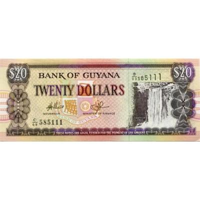 Банкнота 20 долларов. 1996 год, Гайана.