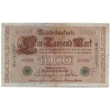 Рейхсбанкнота 1000 марок. 1910 год, Германская империя. (зелёная печать).