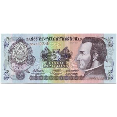 Банкнота 5 лемпир. 2010 год, Гондурас.