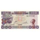 Банкнота 100 франков. 1998 год, Гвинея.