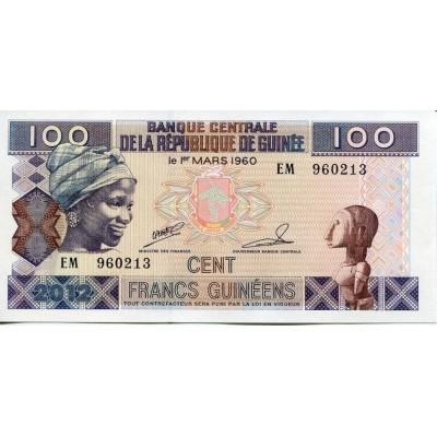 Банкнота 100 франков. 2012 год, Гвинея.