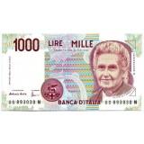Банкнота 1000 лир. Мария Монтессори.  1990 год, Италия