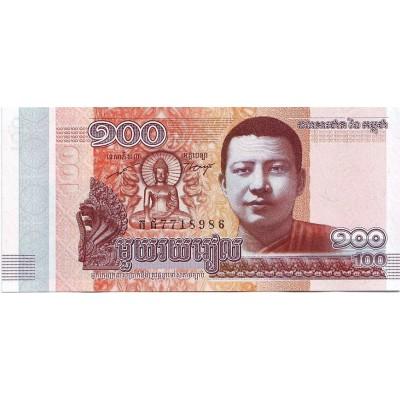 Банкнота 100 риелей, 2014 год, Камбоджа.