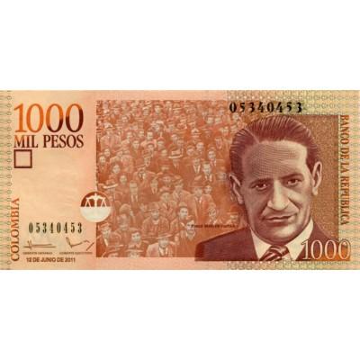 Банкнота 1000 песо. 2011 год, Колумбия.
