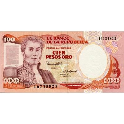 Банкнота 100 песо. 1986 год, Колумбия.