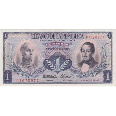 Банкнота  песо. 1973 год, Колумбия.