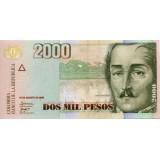 Банкнота 2000 песо. 2009 год, Колумбия.