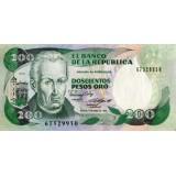 Банкнота 200 песо. 1989 год, Колумбия.