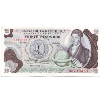 Банкнота 20 песо. 1983 год, Колумбия.