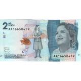 Банкнота 2 песо. 2015 год, Колумбия.