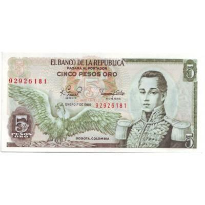 Банкнота 5 песо. 1980 год, Колумбия.