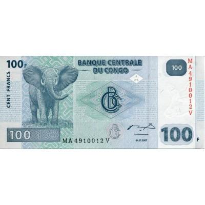 Банкнота 100 франков. 2007 год, Конго.