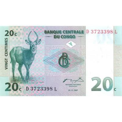 Банкнота 20 сантимов. 1997 год, Конго.