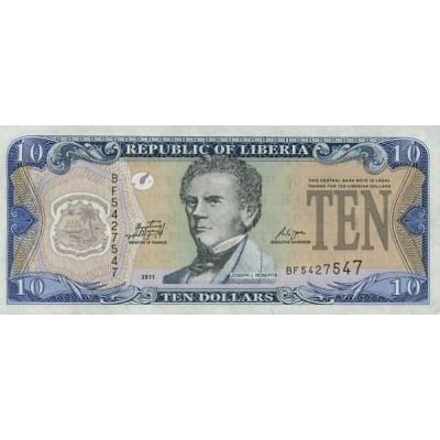 Банкнота 10 долларов. 2011 год, Либерия.