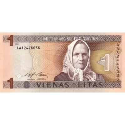 Банкнота 1 лит. 1994 год, Литва.
