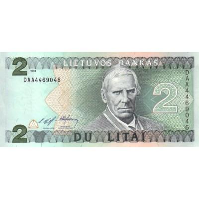 Банкнота 2 лита. 1993 год, Литва.