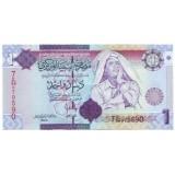 Каддафи. Банкнота 1 динар, Ливия.