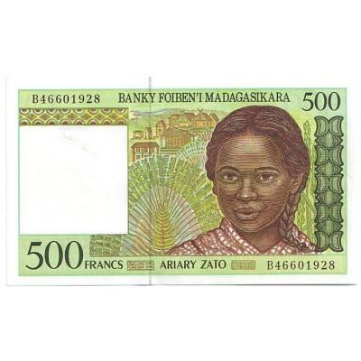 Банкнота 500 франков. Мадагаскар.