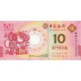Год обезьяны. Банкнота 10 патак, 2016 год, Макао. Банк Китая.