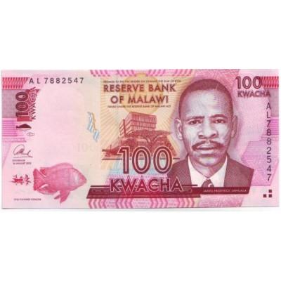 Банкнота 100 квача. 2013 год, Малави.