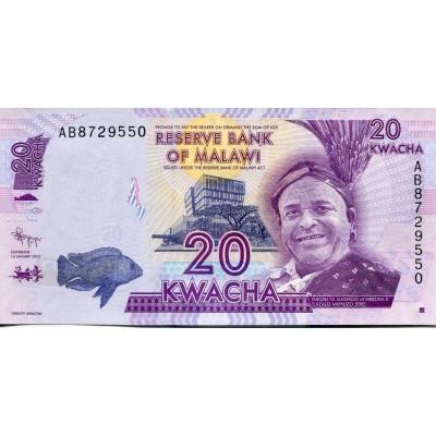 Банкнота 20 квача. 2012 год, Малави.