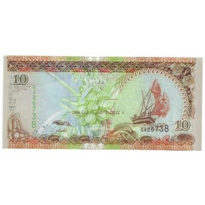Банкнота 10 руфий. 2006 год, Мальдивы.