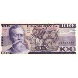 Банкнота 100 песо. 1982 год, Мексика.