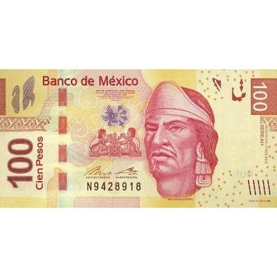 Банкнота 100 песо. 2013 год, Мексика.