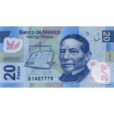 Банкнота 20 песо. 2010 год, Мексика.