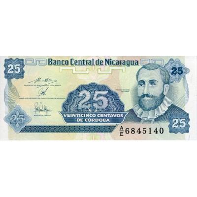 Банкнота 25 сентаво. Никарагуа.