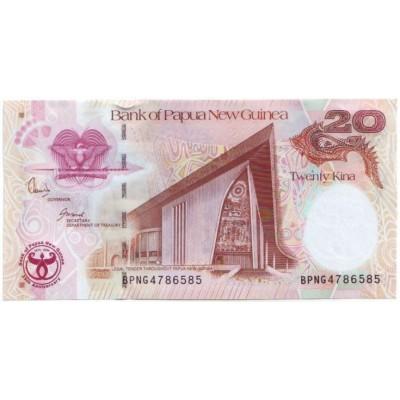35 лет банку. Банкнота 20 кин. 2008 год, Папуа - Новая Гвинея. Юбилейная!