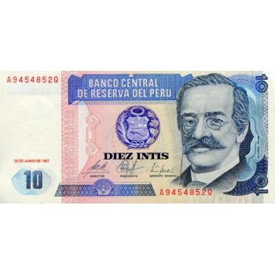 Банкнота 10 инти. 1987 год, Перу.