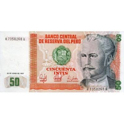 Банкнота 50 инти. 1987 год, Перу.
