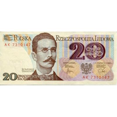 Банкнота 20 злотых. 1982 год, Польша.